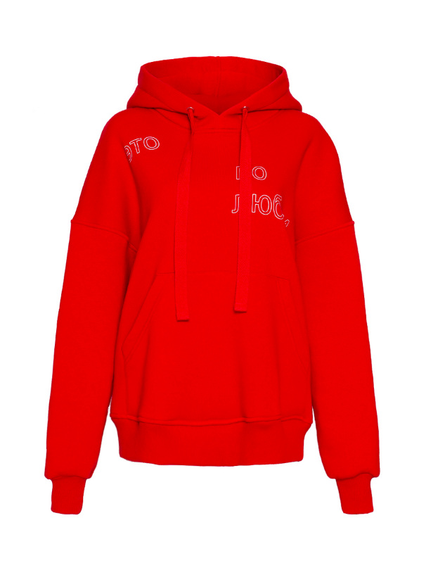 Red hoodie with print