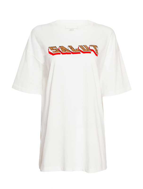 "White t-shirt with print ""Salut"""