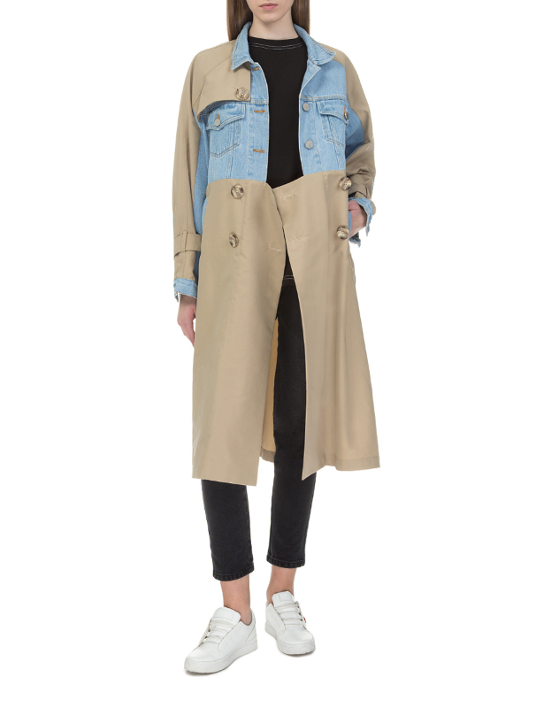 Beige trench coat with denim inserts