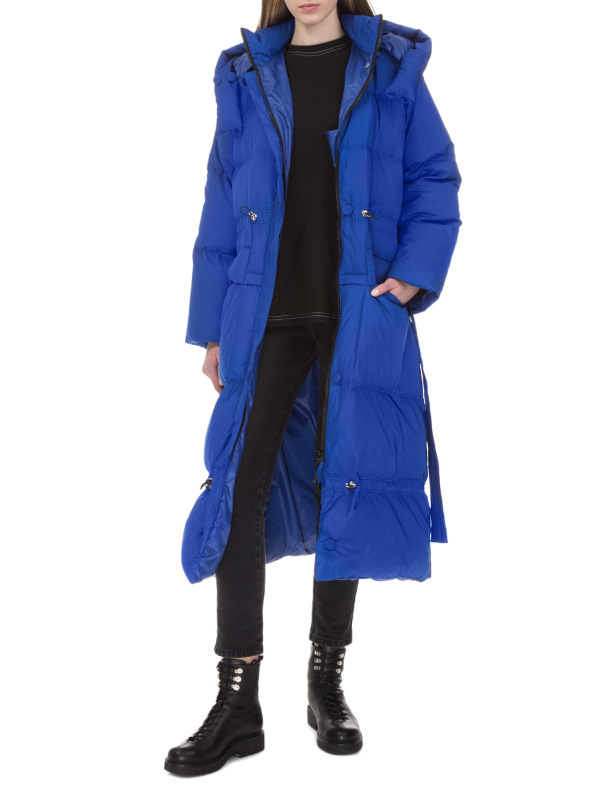 Blue long hooded down jacket