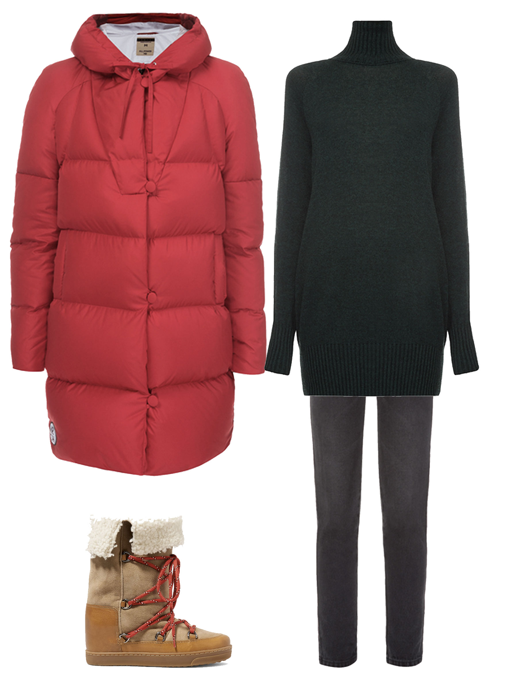 Three outfits for cold weather
