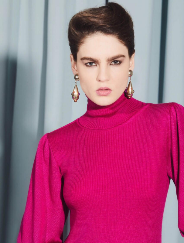 Fuchsia turtleneck sweater