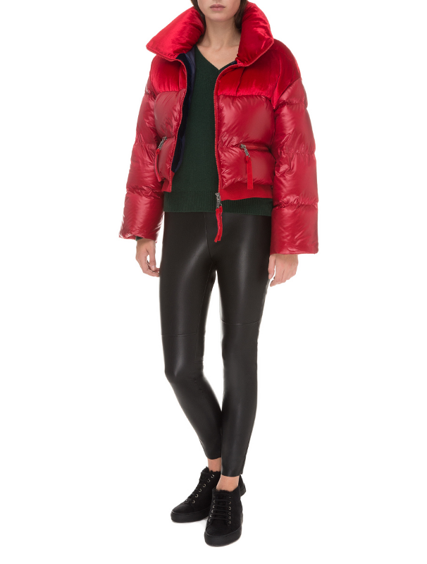 Red quilted hooded down jacket