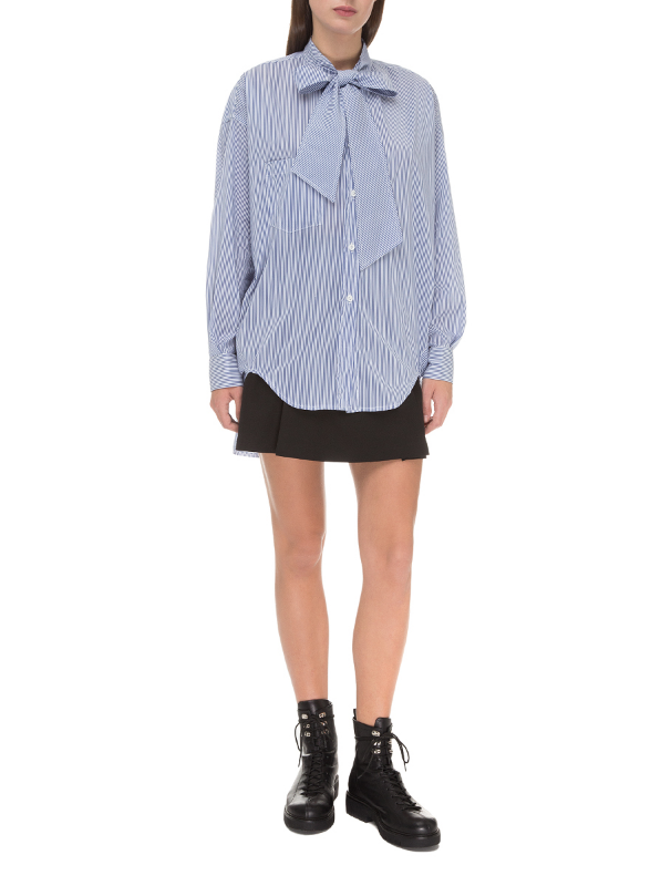 Blue ascot collar striped shirt
