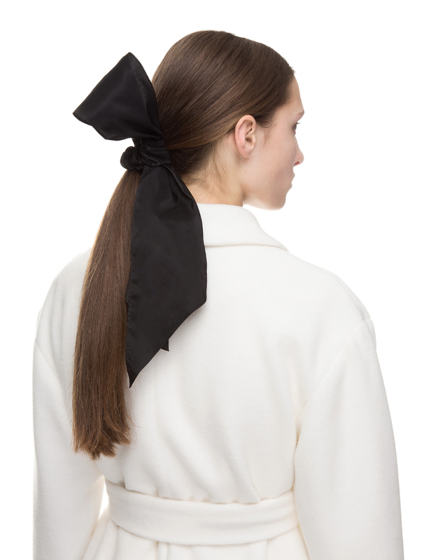 Black hair tie with volume bow