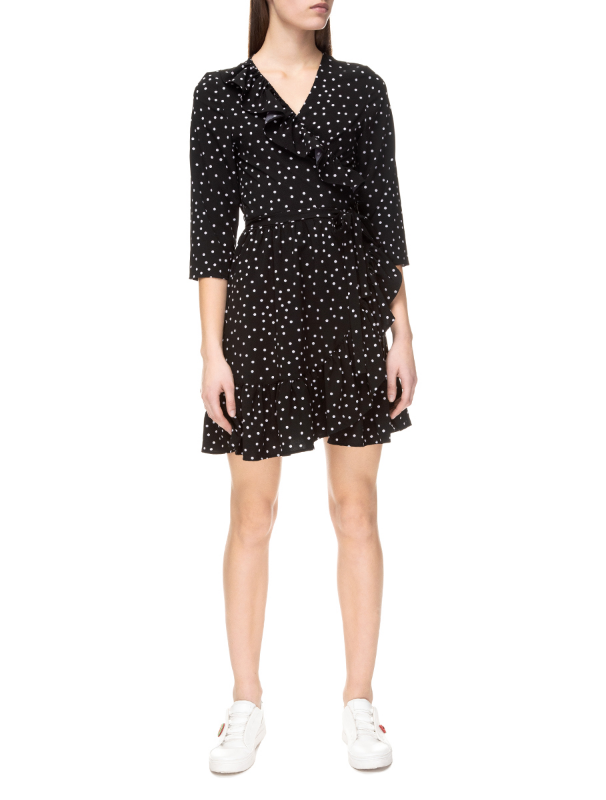 Black polka dot wrap dress