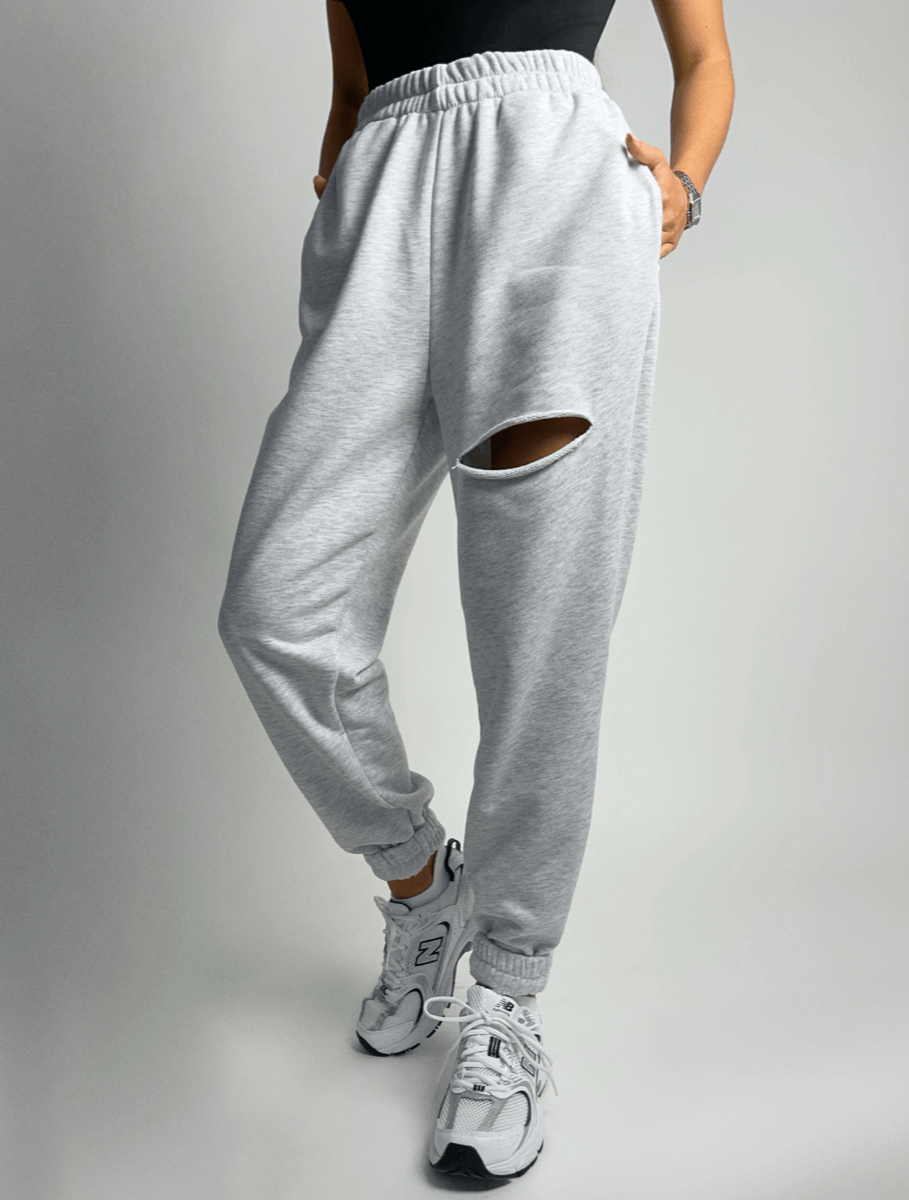Melange slit joggers without fleece