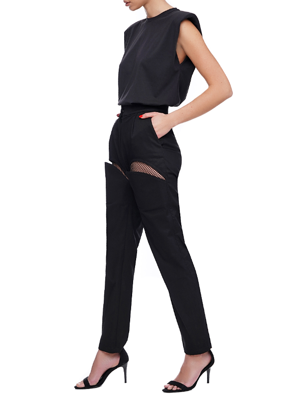 Black trousers with mesh insert