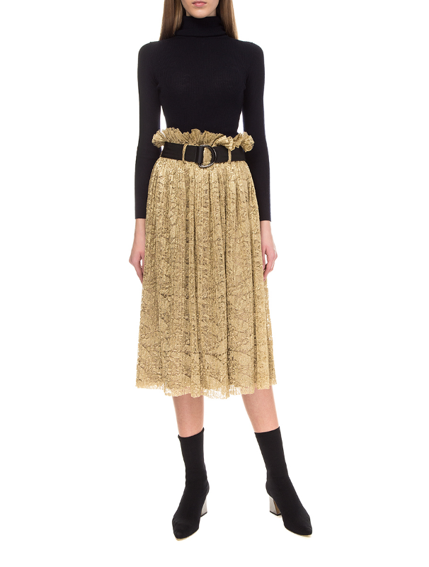 Golden lace pleated skirt