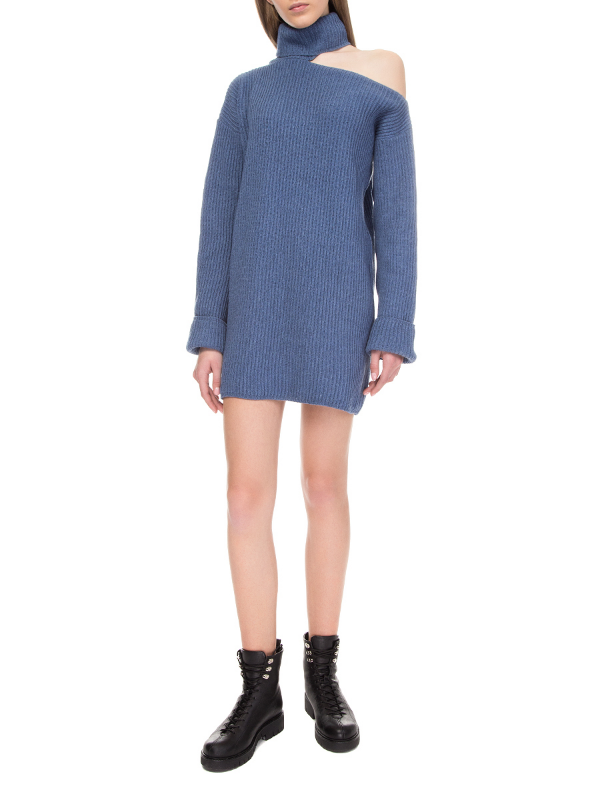 Blue one-shoulder sweater dress