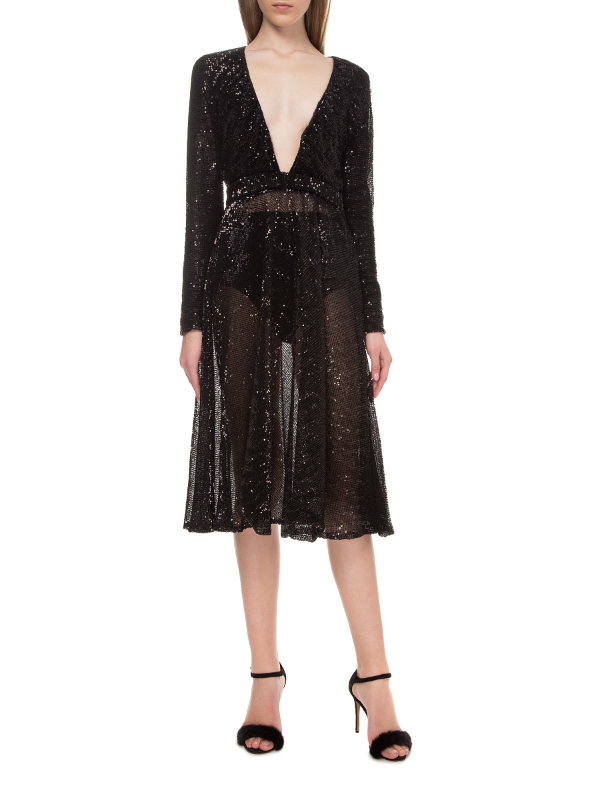 Black midi-dress with sequins