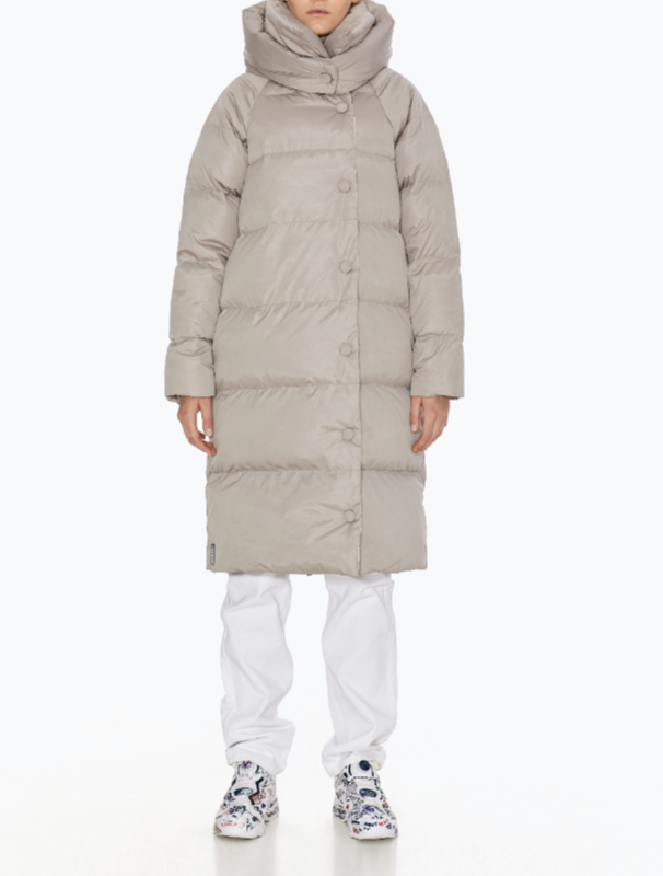 Cream Double long hooded down jacket