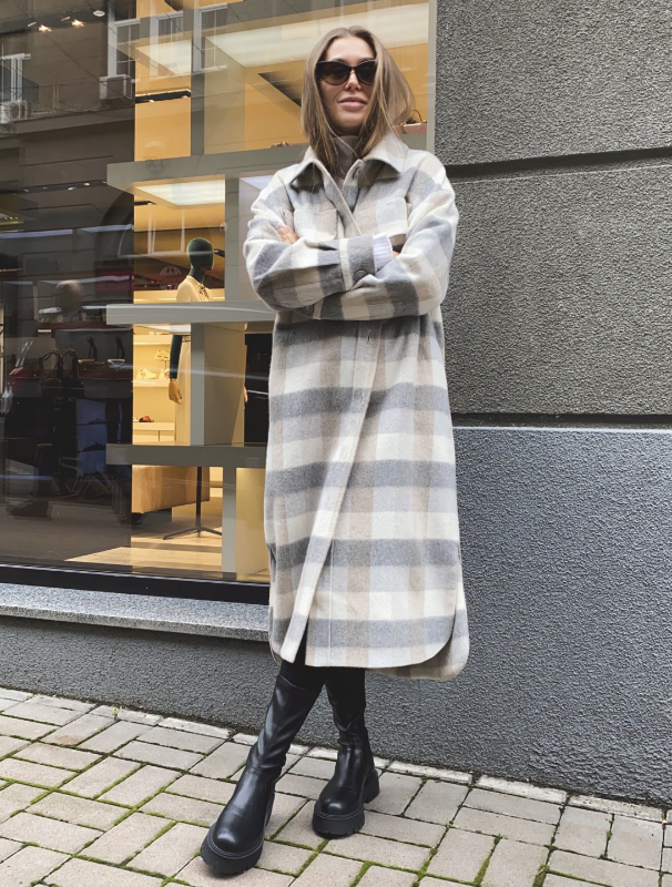 Gray and beige check shirt coat