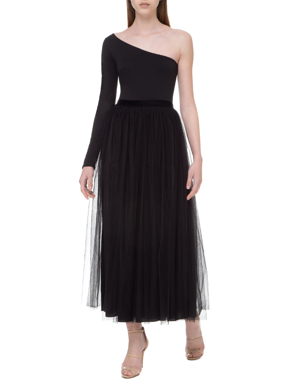 Black double-layered veiling skirt