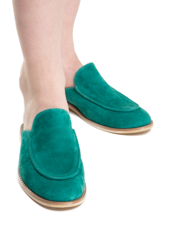 Turquoise suede mules