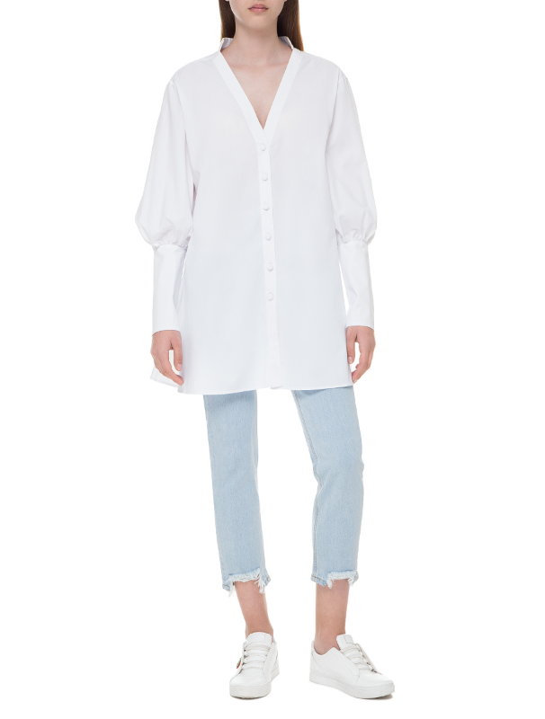 White long shirt with high cuffs