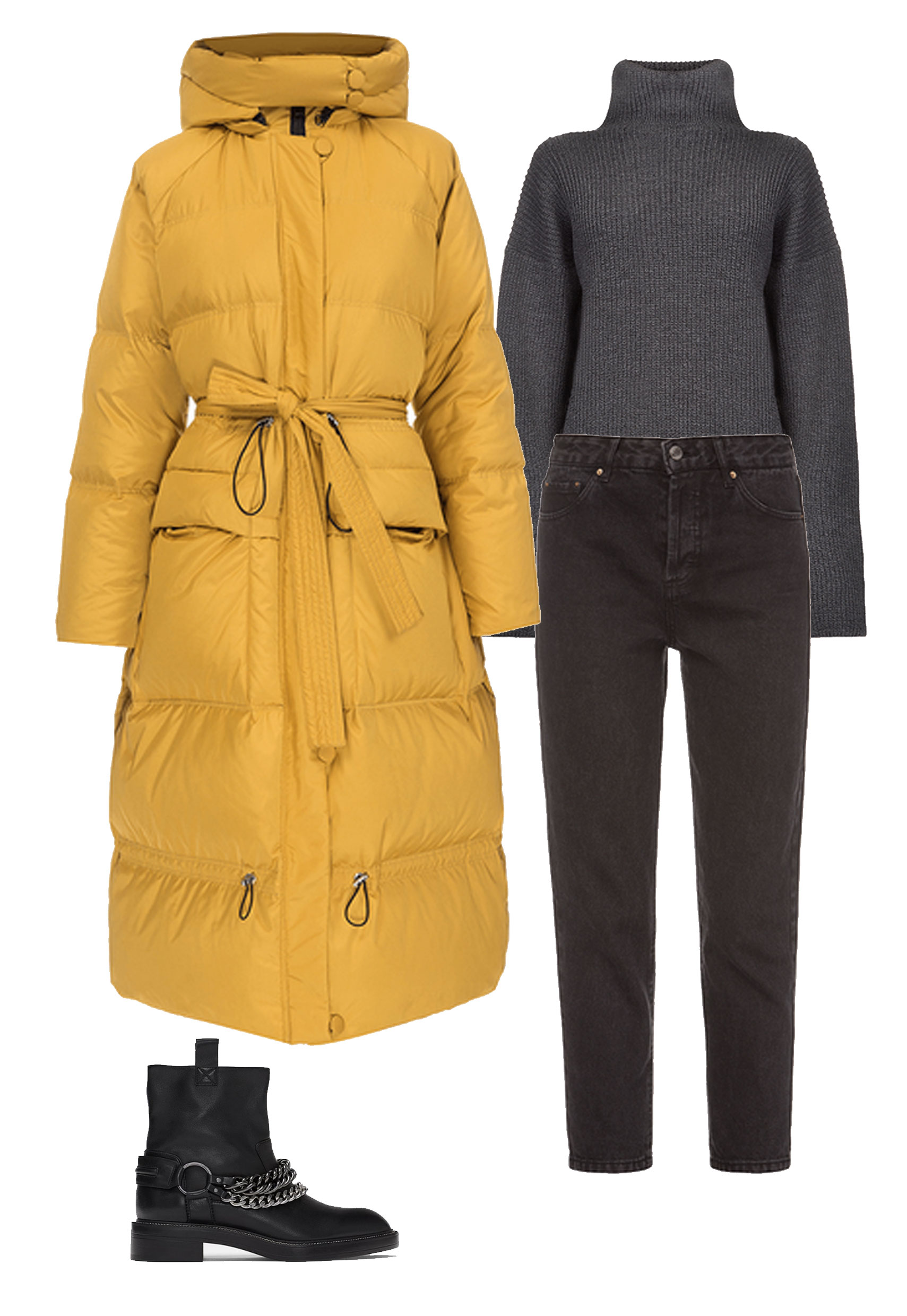 Three looks with bright puffer Jackets