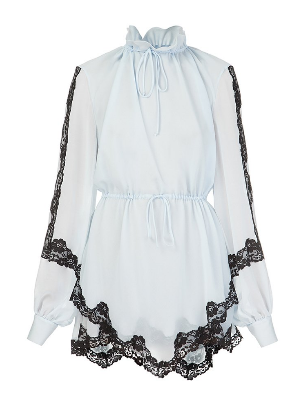 Blue chiffon blouse with black lace
