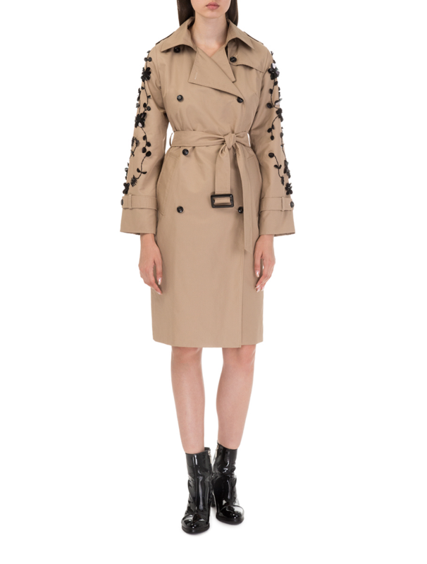 Camel trench coat with embroidery