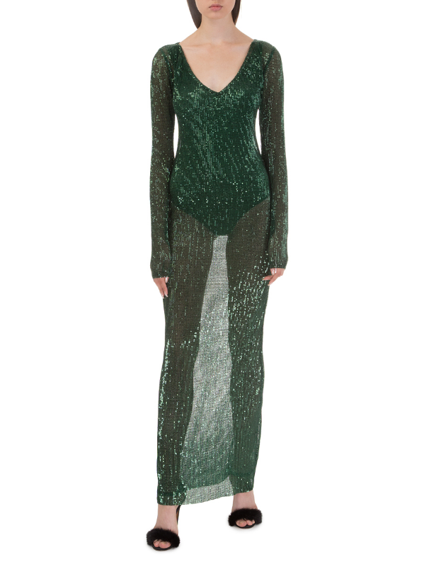 Green maxi-dress with sequins