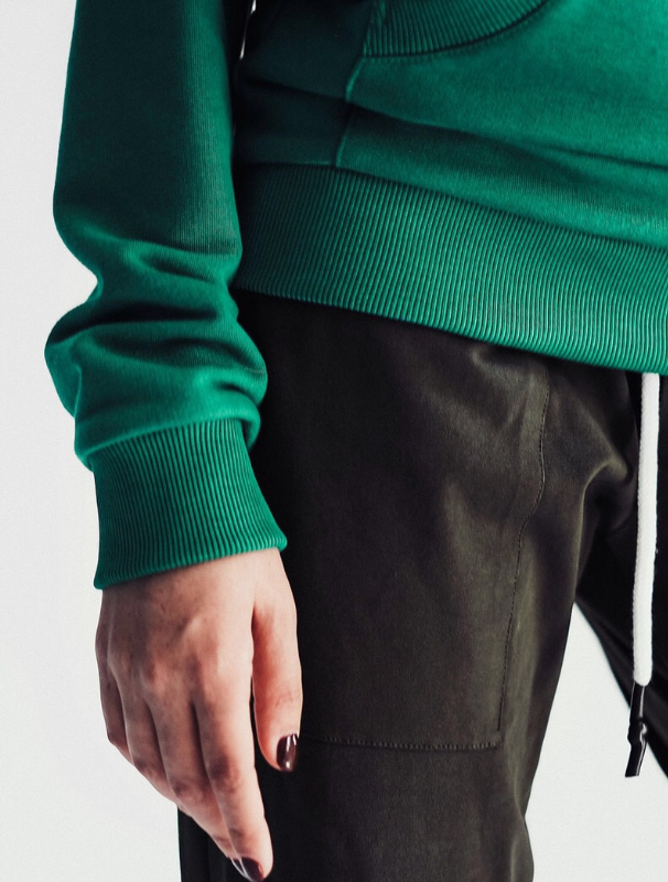 Green hoodie with pockets