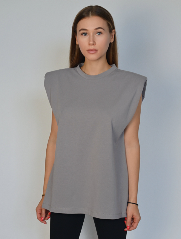 Gray t-shirt with shoulder pads