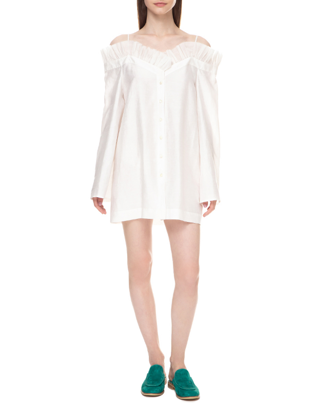 White off-the-shoulders shirt-tunic